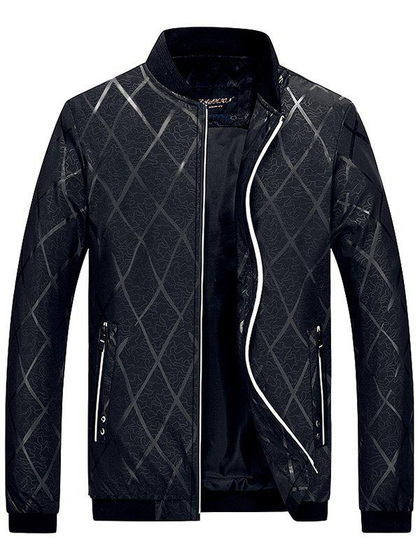 Zip Up Diamond Bomber Jacket - BLACK XL