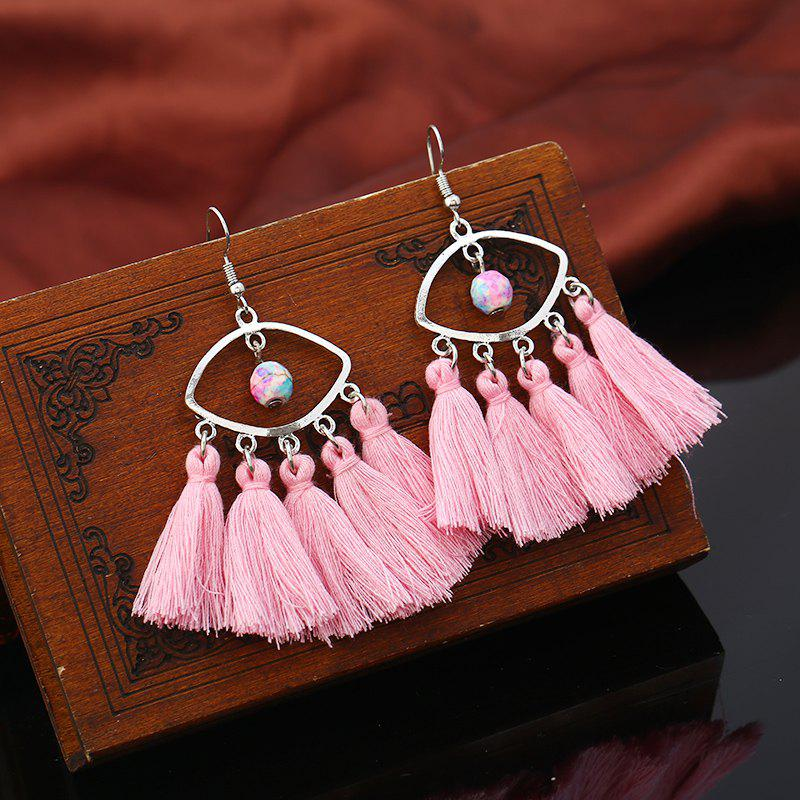 Faux Turquoise Eye Bohemian Tassel Hook Earrings