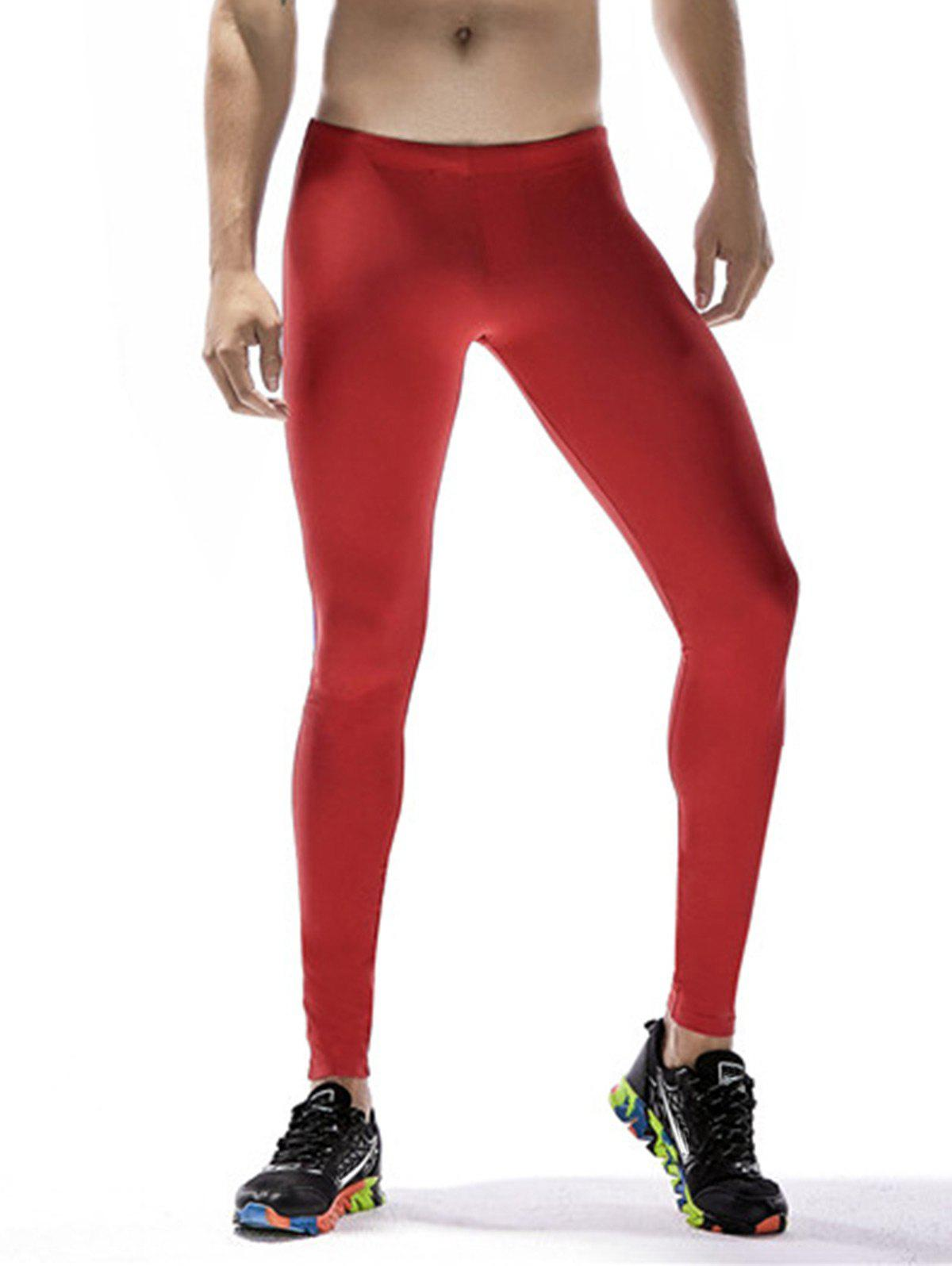 Quick Dry Stretchy Side Color Block Stripe Gym Pants - RED XL
