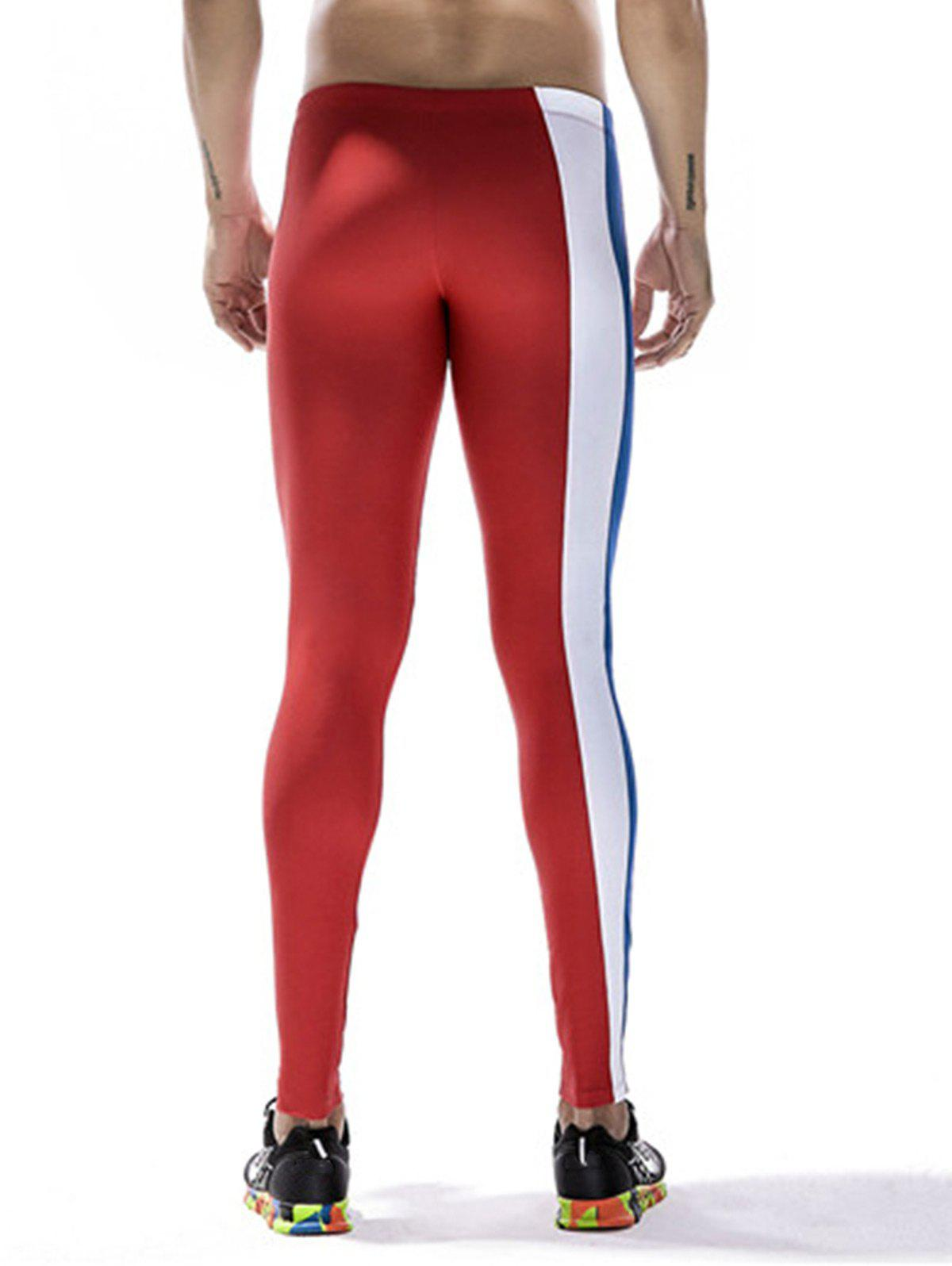 Quick Dry Stretchy Side Color Block Stripe Gym Pants - RED M