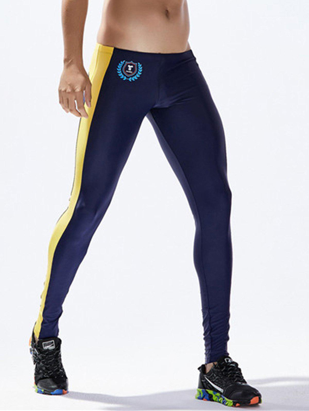 Side Stripe Badge Print Stretchy Gym Pants - DEEP BLUE L
