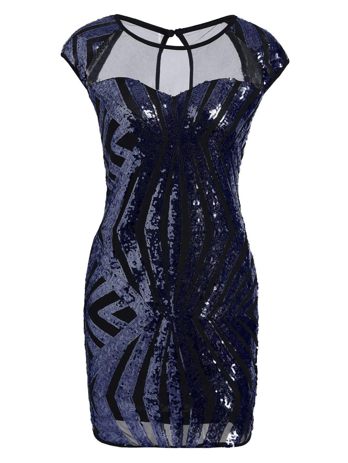 Mesh Insert Sequin Bodycon Club Dress - BLUE L