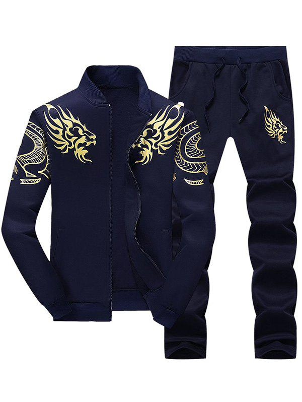 Totem Dragon Print Jacket and Sweatpants Twinset - PURPLISH BLUE XL