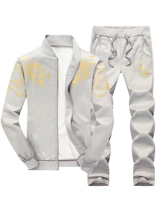 Totem Dragon Print Jacket and Sweatpants Twinset - LIGHT GRAY XL