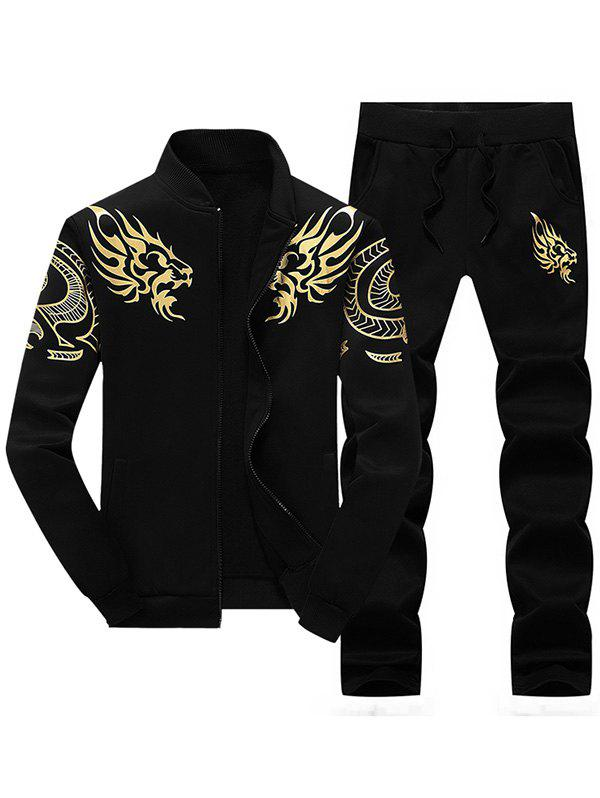 Totem Dragon Print Jacket and Sweatpants Twinset - BLACK XL