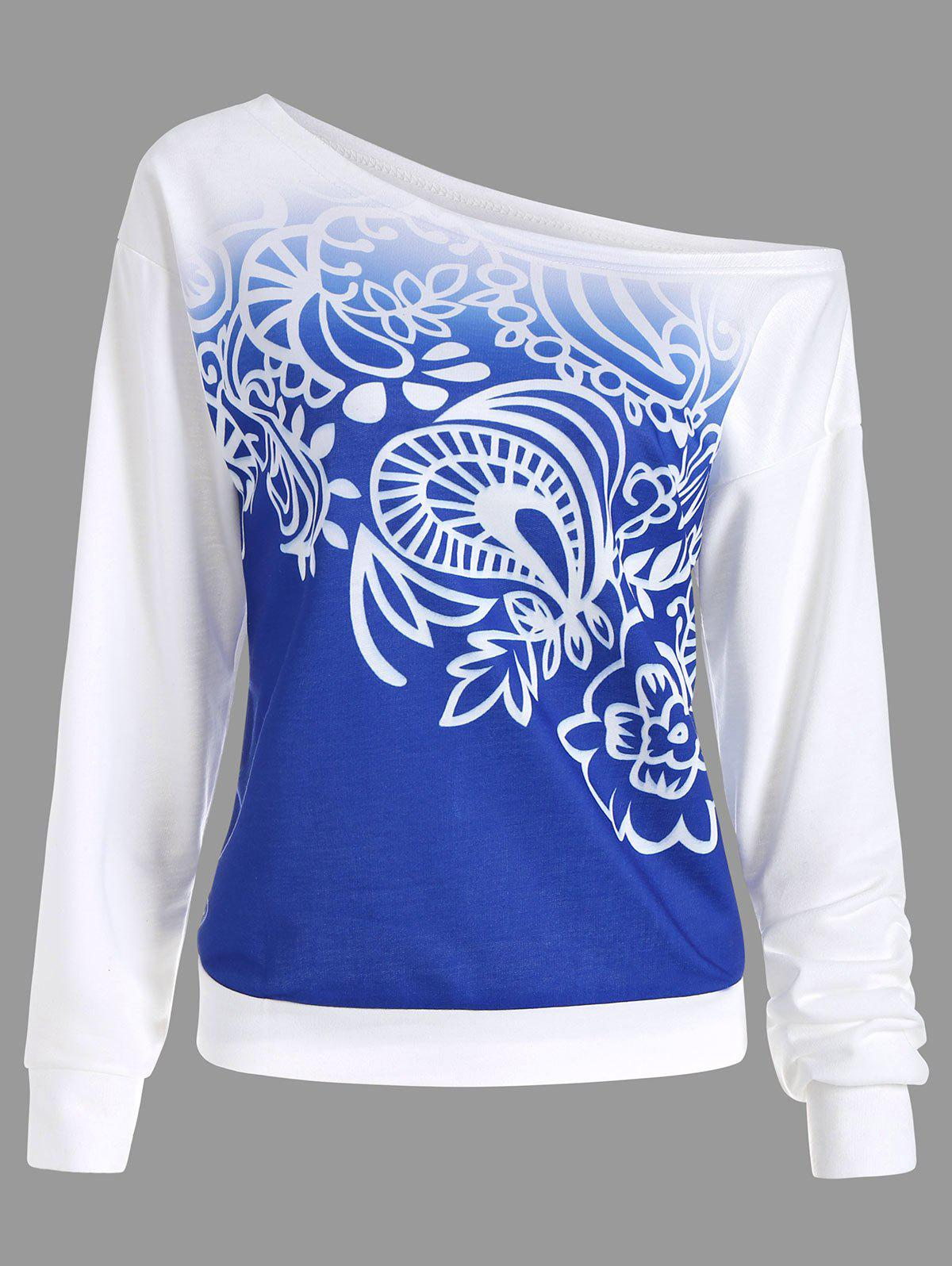 Ombre Printed Long Sleeve Sweatshirt - BLUE S