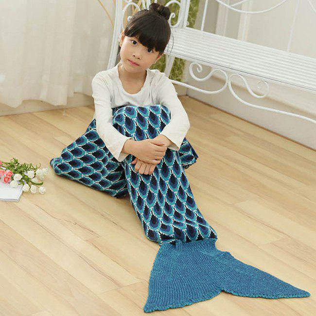 Peacock Pattern Crochet Mermaid Blanket For Kids - CADETBLUE 137*70CM