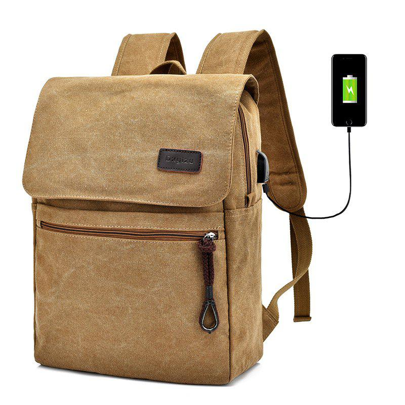 Canvas Zippers Double Pocket Backpack - KHAKI