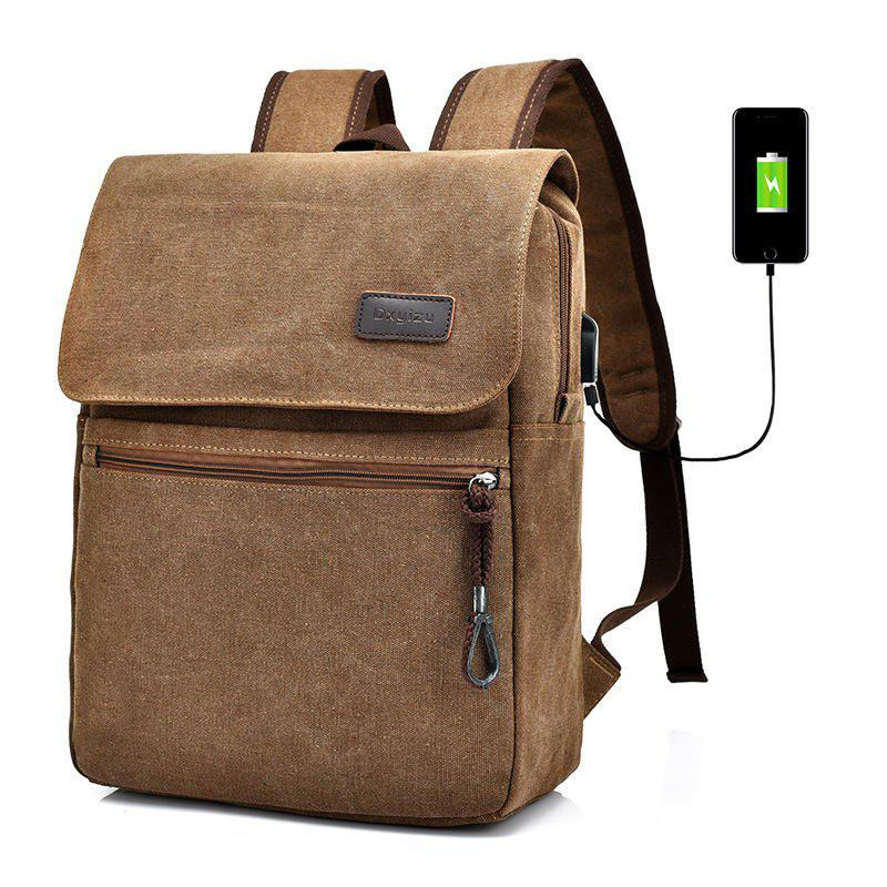 Canvas Zippers Double Pocket Backpack - COFFEE