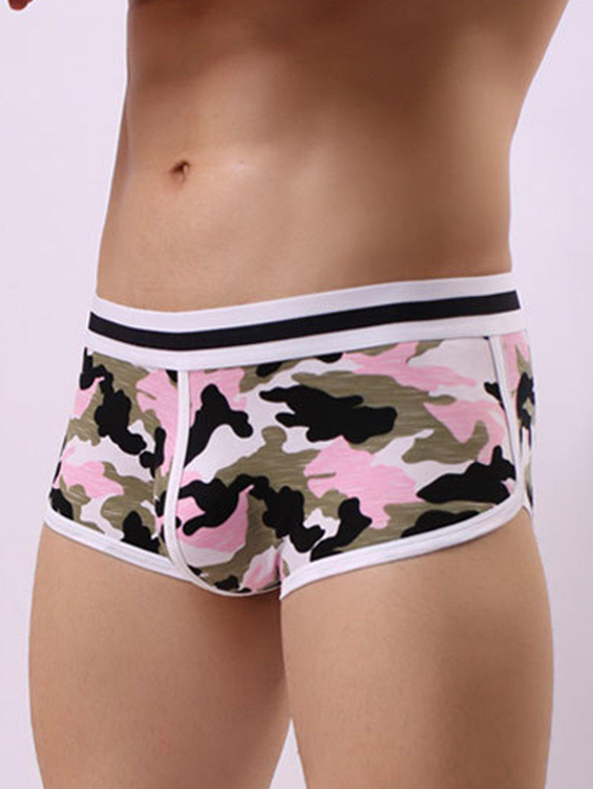 U Pouch Color Block Camouflage Trunk - PINK M