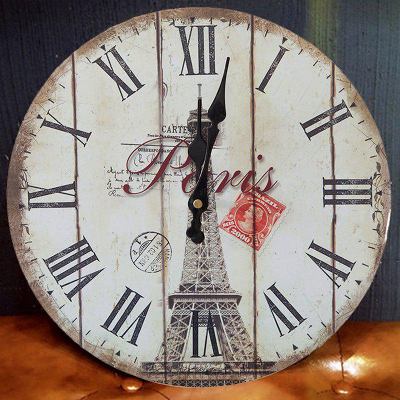 Eiffel Tower Round Wood Analog Wall Clock - WHITE 50*50CM