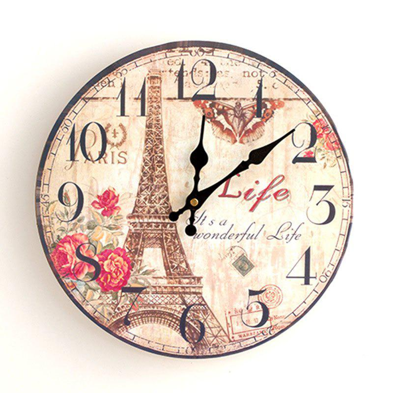 Eiffel Tower Round Wood Analog Wall Clock - YELLOW 50*50CM