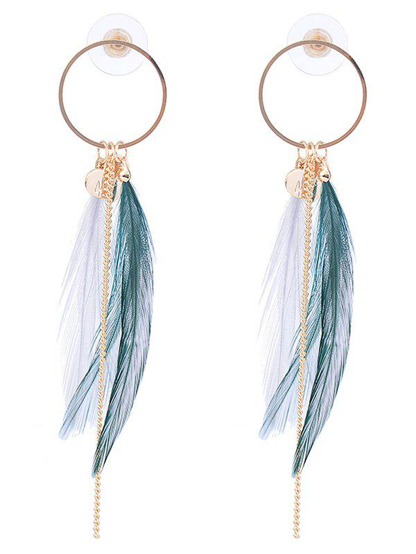 Feather Metal Link Chain Circle Drop Earrings трафарет feather circle 1
