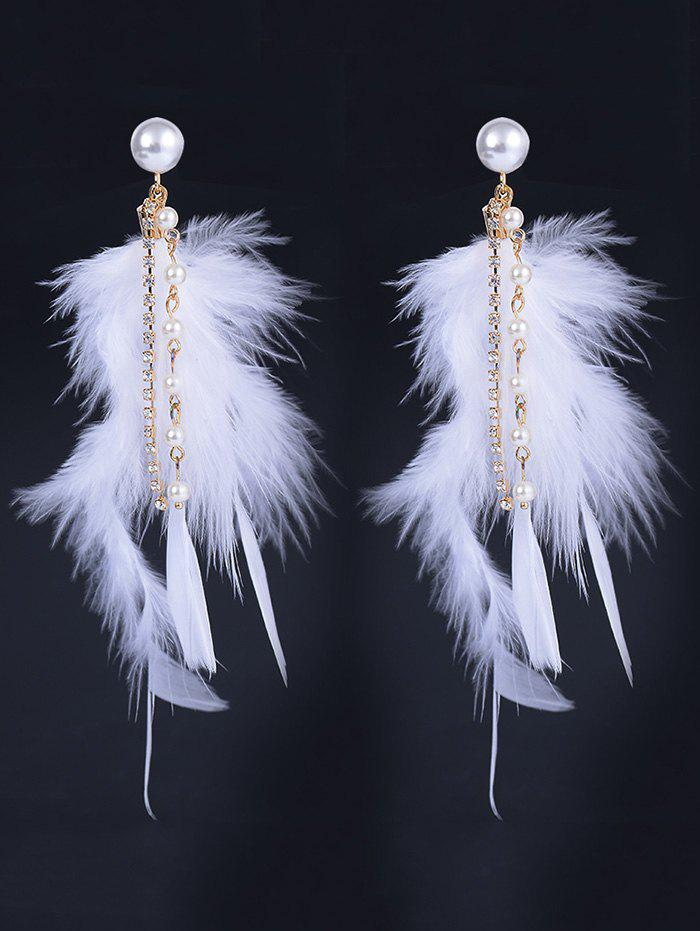 Natural Feather Artificial Pearl Rhinestone Drop Earrings 10pcs lot 100
