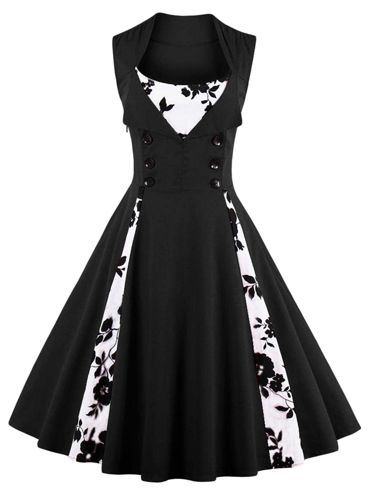 Vintage Floral Print Prom Swing Pin Up Dress - BLACK XL