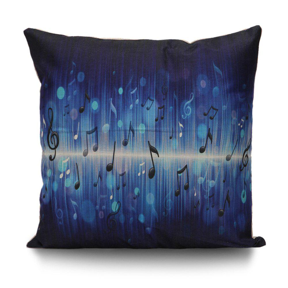 Music Notes Printed Throw Pillow Cover - DEEP BLUE 55*55CM