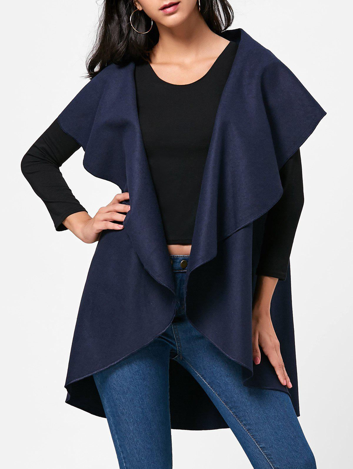 Wool Blend Sleeveless Open Front Cape - PURPLISH BLUE ONE SIZE