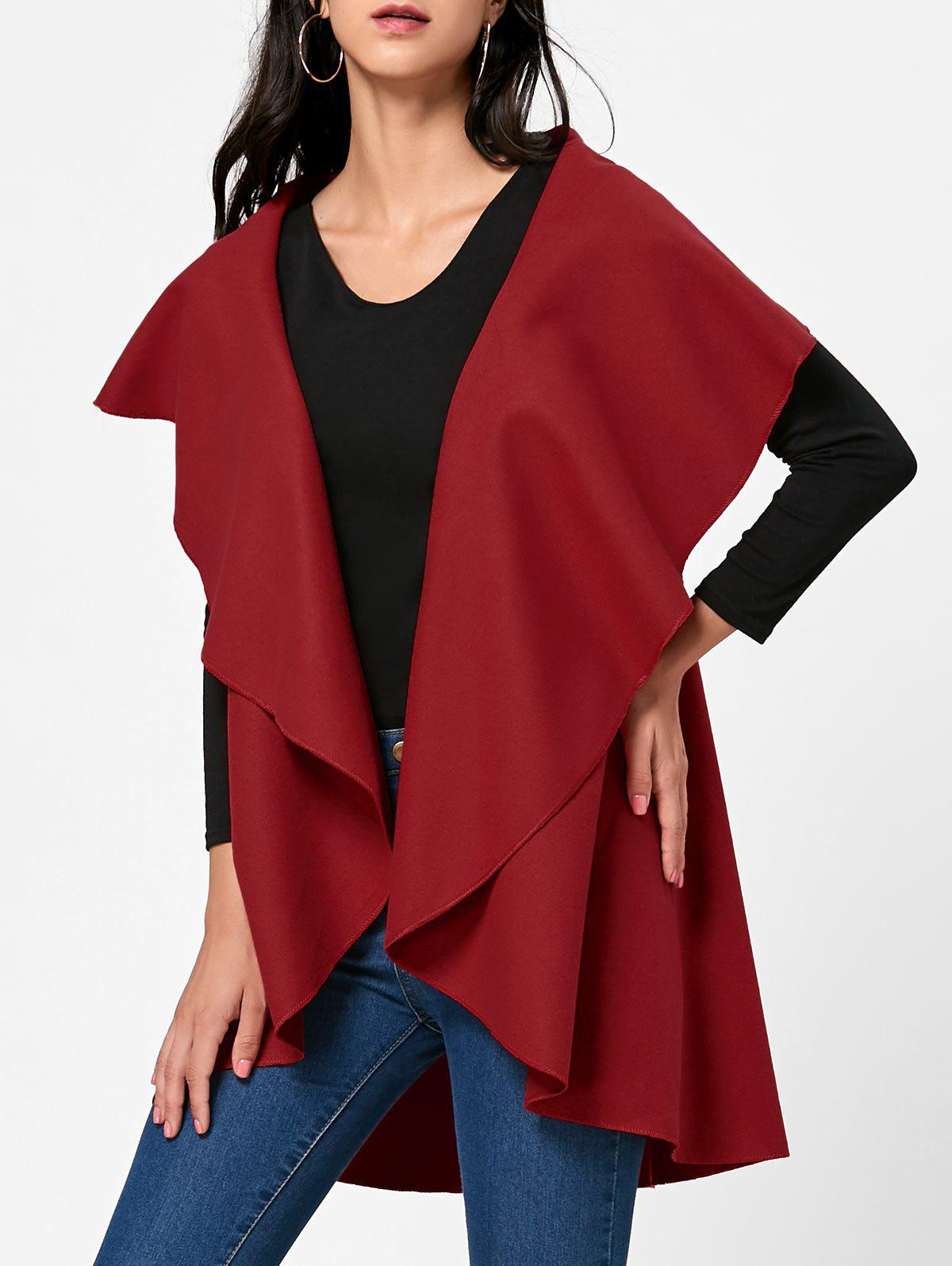Wool Blend Sleeveless Open Front Cape - RED ONE SIZE