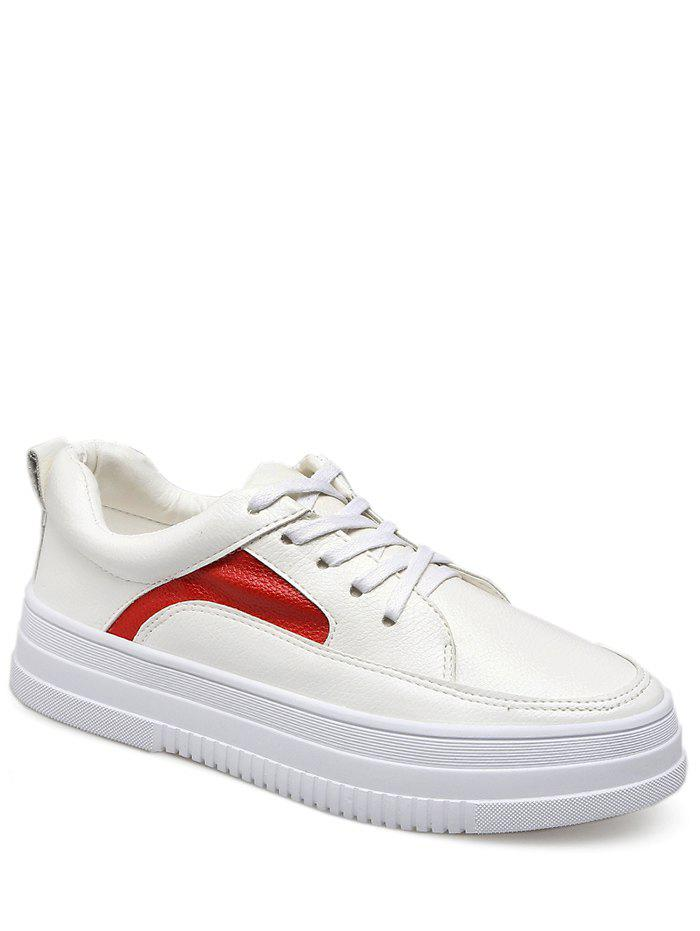 Color Block Breathable Faux Leather Athletic Shoes - RED/WHITE 39