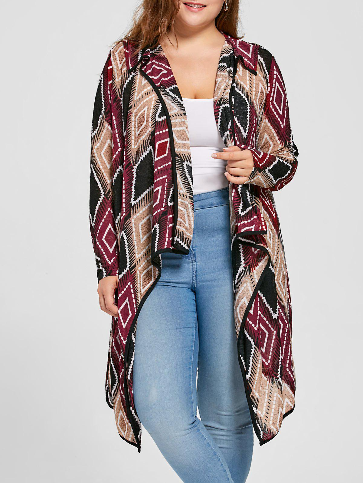Plus Size Geometric Drape Cardigan - RED XL