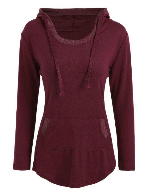 Slim Fit Kangaroo Pocket Hoodie - Rouge vineux XL