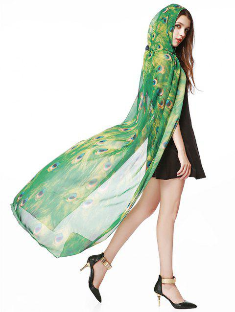 41  Off  2019 Hooded Peacock Pattern Festival Chiffon Long Cape In Green
