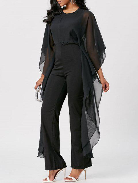 Mesh Insert High Waist Jumpsuit - BLACK 2XL