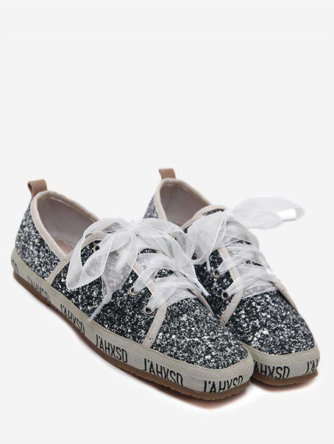 Ribbon Lace Up Sequined Sneakers - GRAY 37