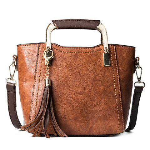 Tassels Metal Handle Handbag - BROWN