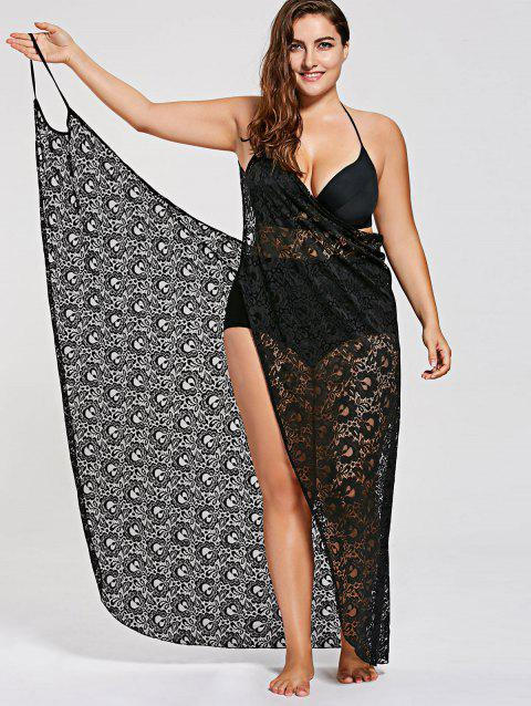 17% OFF] 2019 Plus Size Lace Cover Up Wrap Dress In BLACK | DressLily