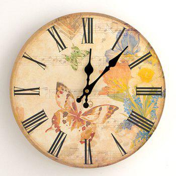 Butterfly Floral Wood Round Analog Wall Clock
