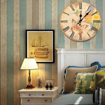 Butterfly Floral Wood Round Analog Wall Clock - GINGER GINGER