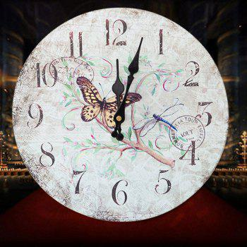 Butterfly Floral Wood Round Analog Wall Clock - WHITE WHITE