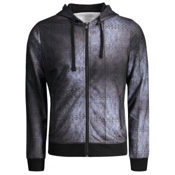 Zipper Up Iron Wall Print Hoodie