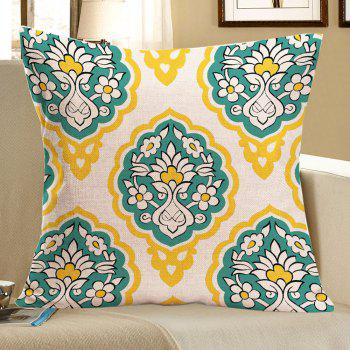 Flowers Geometry Printed Linen Pillow Case