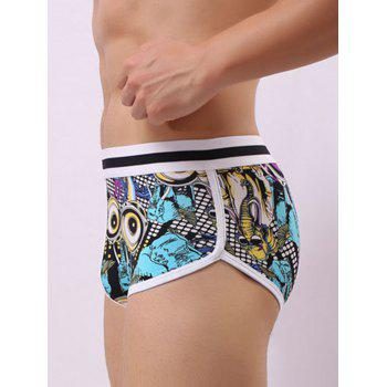 Convex Pouch Color Block Graphic Trunk - BLUE S