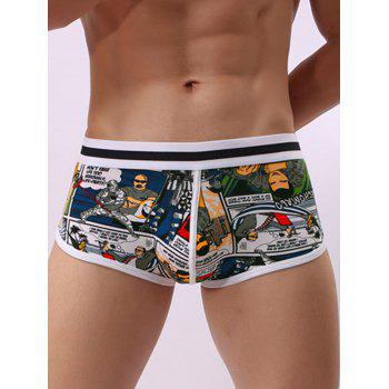 Elastic Waist Pouch Cartoon Print Trunk - GRAY XL