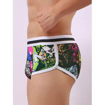 Pouch Color Block Cartoon Graphic Trunk - GREEN XL