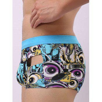 U Pouch Graphic Print Hollow Trunk - BLUE XL