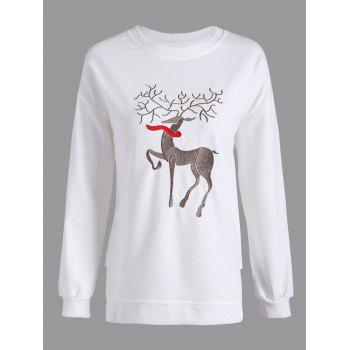 Drop Shoulder Christmas Reindeer Embroidery Sweatshirt