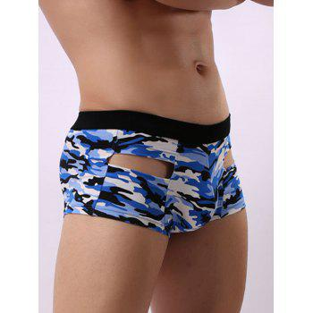 Camouflage Hollow Convex Pouch Trunk - BLUE L