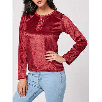 Long Sleeve Velvet T-shirt with Button