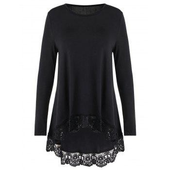 Lace Trim Long Sleeve High Low T-shirt