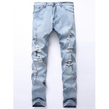 Bleached Straight Leg Ripped Jeans