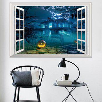 Halloween 3D Window Gruesome Castle Wall Sticker - DEEP BLUE 48.5*72CM