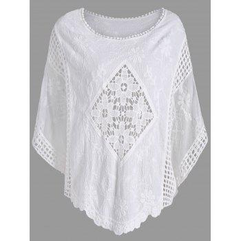 Hollow Out Plus Size Batwing Sleeve Top