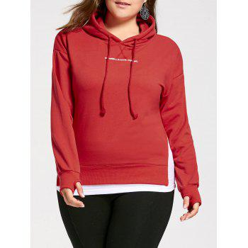 Plus Size Letter Graphic Panel Boyfriend Hoodie