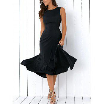 A Line Sleeveless Semi Formal Prom Dress