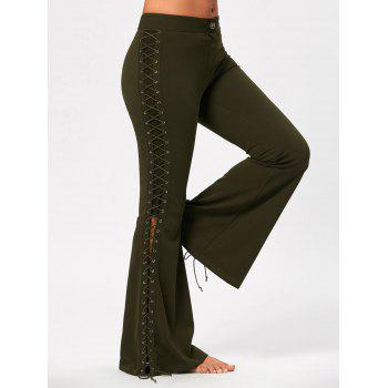 Flare Pants with Criss Cross Lace Up - ARMY GREEN S