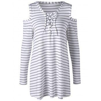 Striped Cold Shoulder Lace Up Top